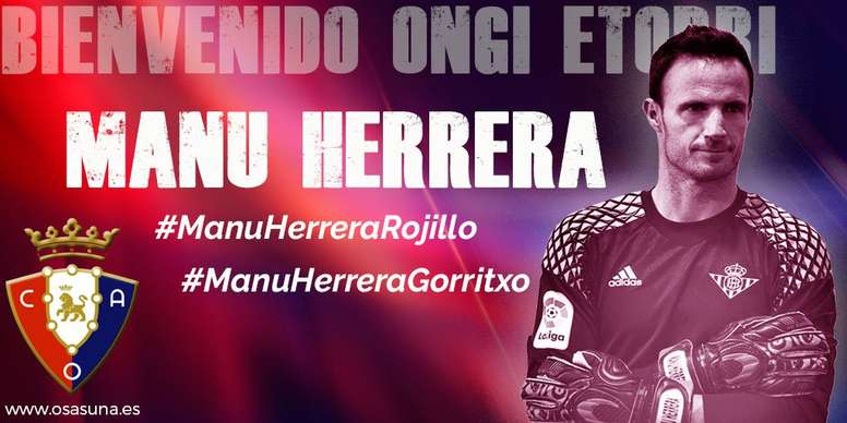 Manu Herrera se ha comprometido una temporada con Osasuna. Osasuna