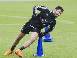 El portugués Luis Martins, en un entrenamiento de Osasuna. Osasuna