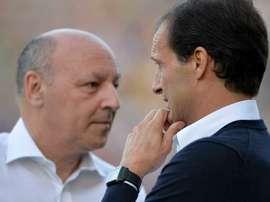 Giuseppe Marotta, le directeur sportif de la Vieille Dame, avec Massimiliano Allegri. EFE