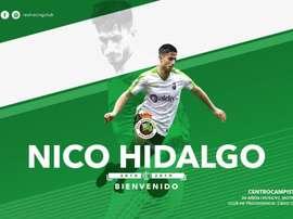 Nico Hidalgo se marcha a Santander. Twitter/realracingclub