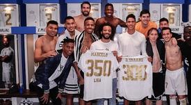 El Madrid felicitó a Marcelo y varane. RealMadrid