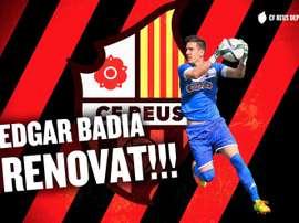 El Reus Deportiu ha anunciado la renovación de Edgar Badia. CFReusDeportiu