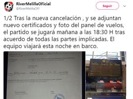 El River Melilla no pudo viajar en avión y el partido tuvo que aplazarse. Twitter/RiverMelillaOFI