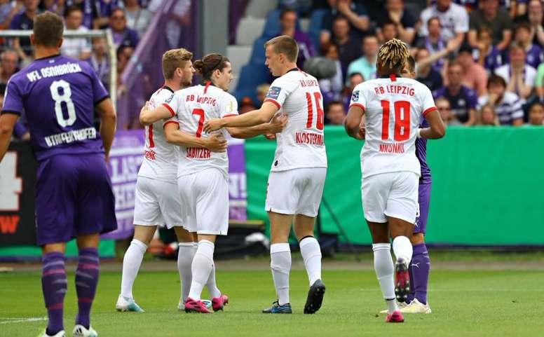 El RB Leipzig sufrió para vencer por 2-3 al VfL Osnabrük. Twitter/DieRottenBullen