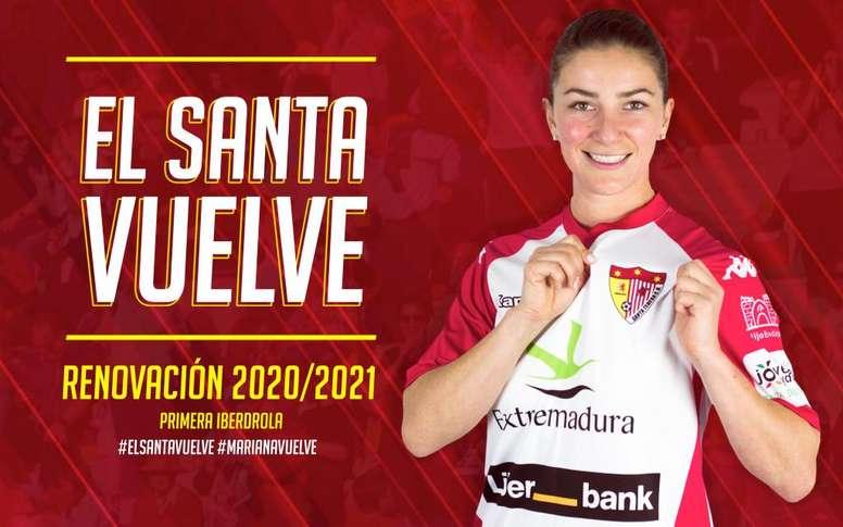 Amplía su contrato una temporada más. Twitter/SantaBadajoz