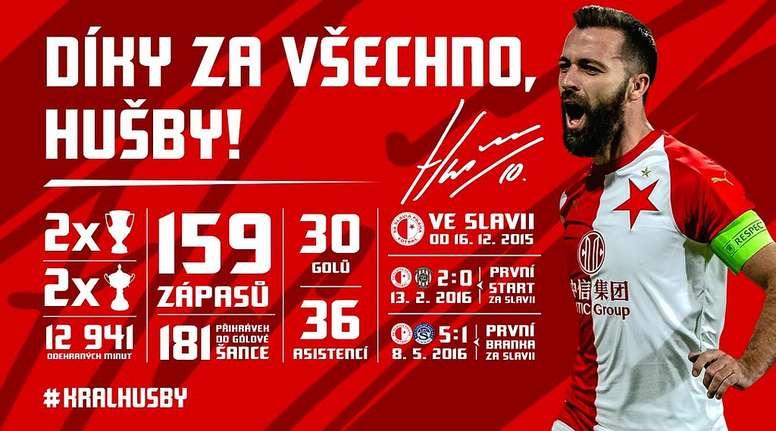 El Slavia de Praga cedió a Husbauer. Twitter/SlaviaOfficial