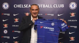 Maurizio Sarri faced his first press conference as a Chelsea manager. ChelseaFC
