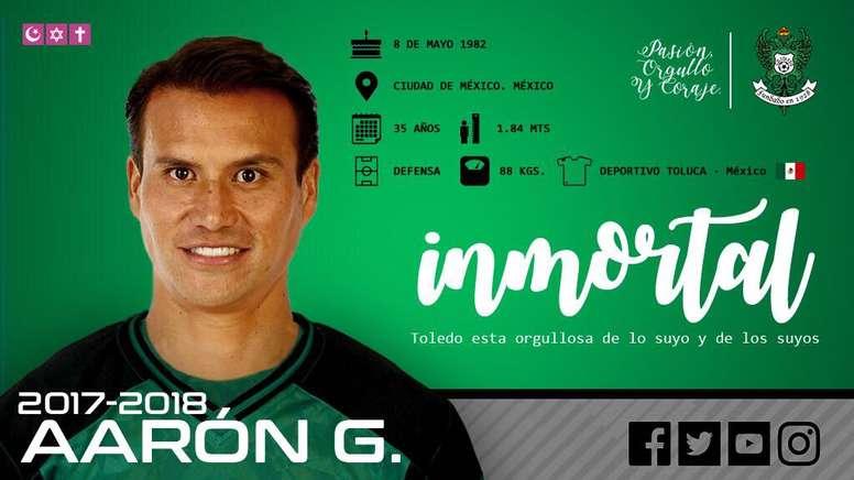 Aarón Galindo vuelve al fútbol español. Twitter/CD_Toledo