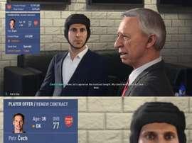 Le gardien d'Arsenal garde son casque même en entretient. Twitter/PetrCech
