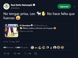 Le Betis demande à Messi de 'lever le pied' ! Twitter/realbetis