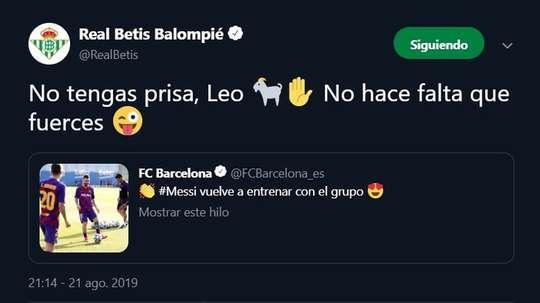 Betis pede para Messi não ter pressa na recuperação. Twitter/realbetis