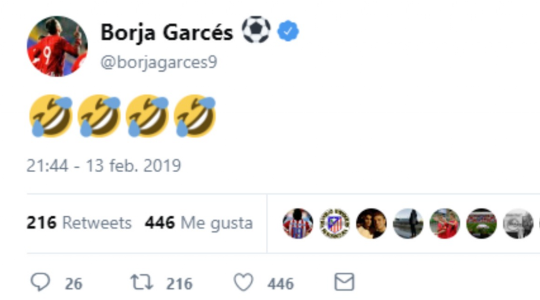 Borja Garcés publicó el mensaje en cuanto el árbitro anuló el gol... Twitter/borjagarces9