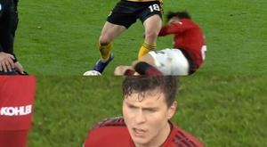 El VAR entró en la FA Cup para quitarle la tarjeta roja a Victor Lindelof. Captura/BTSport