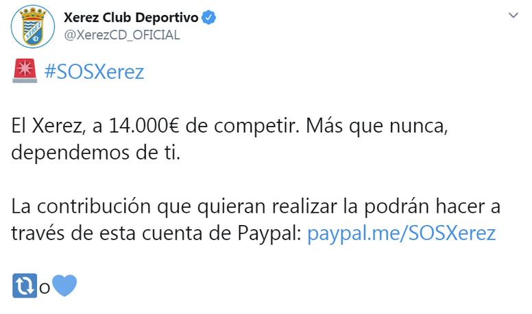 El Xerez Deportivo está a 14.000 euros de evitar el abismo. Twitter/XerezCD_Oficial
