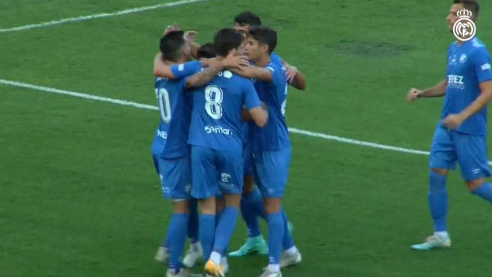 El Xerez venció al Castilla por 2-1. Captura/RealMadridTV