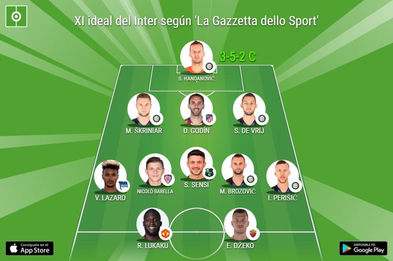 El XI ideal del Inter de Milán para 'La Gazzetta dello Sport'. BeSoccer