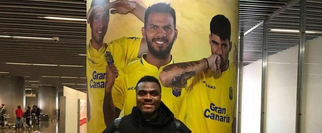 Emenike vai ficar na Canárias até ao final da época. Twitter/Las Palmas