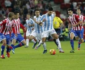 En la ida en Gijón el Málaga cayó por 1-0. En un partido que Halilovic decidió para los locales. Archivo/EFE
