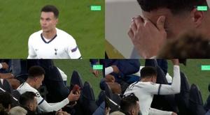 Dele Alli ficou furioso quando Mourinho o substituiu. Captura/Movistar