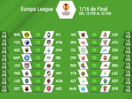 Enfrentamientos de dieciseisavos de final de la Europa League 2017-18. BeSoccer