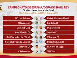 Estes serão os enfrentamientos de oitavos da Copa del Rey 2016-17. RFEF