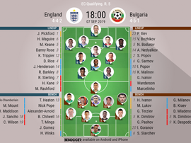 England v Bulgaria, Euro 2020 qualifiers, matchday 5, 7/9/2019 - official line.ups. BESOCCER