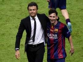 Enrique et Messi, ignorés par la Liga. AFP