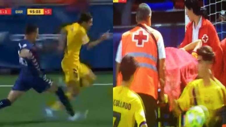 Riqui Puig, encore victime de l'agressivité des adversaires. Capture/BarçaTV