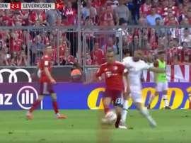 El extremo alemán había entrado al partido unos minutos antes. Captura