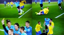 Cavani protagonizó una entrada sobre Neymar. Captura/TDP