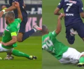 Pánico en París: Mbappé, lesionado tras una criminal entrada de Perrin. Captura/Eurosport
