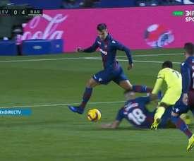 Dembélé recibió una dura entrada. Captura/DirectTV