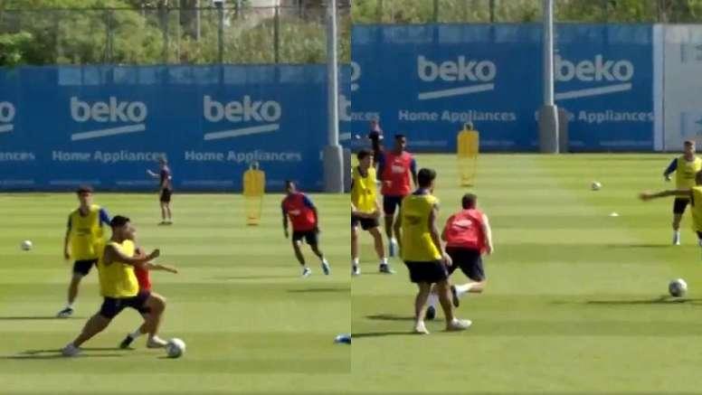 Los jugadores se entrenaron con normalidad. Captura/FCBarcelona