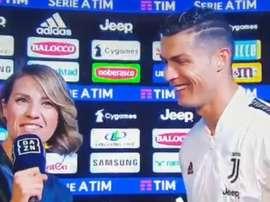 Cristiano Ronaldo garantiu que continuará em Turim. Captura/DAZN