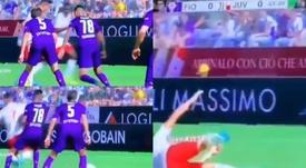 Pulgar no dudó en llevarse por delante a Ronaldo en un lance del Fiore-Juve. Captura/ESPN