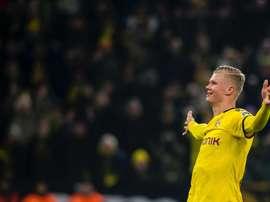 Haaland marca o seu quinto gol em dois jogos. BVB