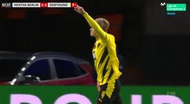 Erling Haaland got a hat-trick for Dortmund at Schalke. Screenshot/MovistarLaLiga