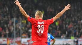 Solskjaer landed in Salzburg to convince Haaland. AFP