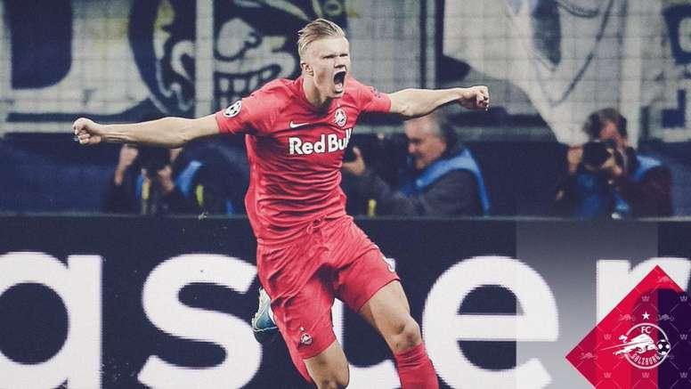 Haland marque un triplé  en 45 minutes pour son premier match de Champions League. Captura/beINSport