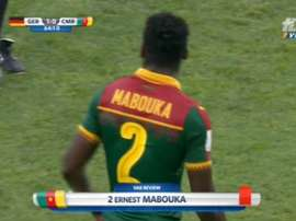 Ernest Mabouka was sent off after VAR was consulted. Twitter