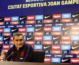 Ernesto Valverde participou da coletiva prévia ao encontro diante do Levante. Twitter/FCBarcelona_es