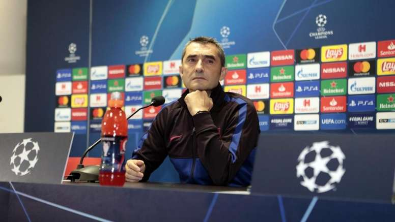 Valverde était en conférence de presse avant le match face au Slavia. Twitter/FCBarcelona_es