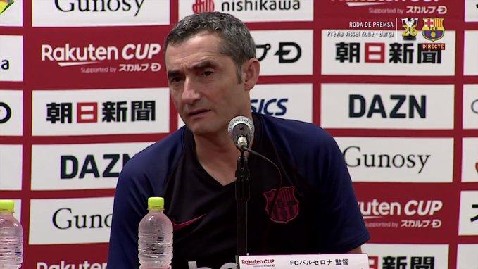 Valverde lors de la conférence de presse avant le Vissel Kobe-Barcelone. Capture/FCBarcelone