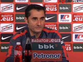 Ernesto Valverde, en una rueda de prensa del Athletic de Bilbao.