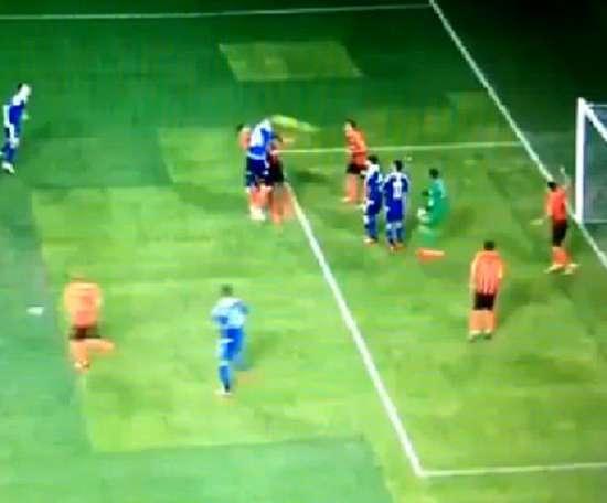 Pyatov ayudó en el 0-1. Captura/SportTV1