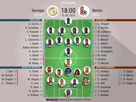 Escalação de Senegal e Benin pelas quartas de final da Copa da África 2019. BeSoccer