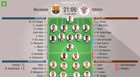 Escalações - Barcelona e Athletic Bilbao - Final - Supercopa da Espanha - 17/01/2021. BeSoccer