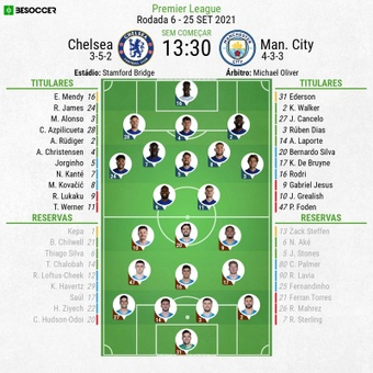 Escalações - Chelsea e Manchester City - 6ª rodada - Premier League - 25/09/2021. BeSoccer