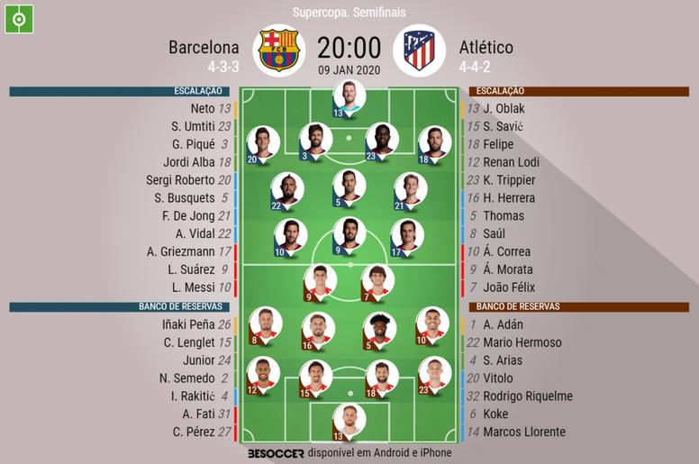 Escalações Barcelona - Atlético de Madrid, Supercopa da Espanha, 09-01-2020. BeSoccer
