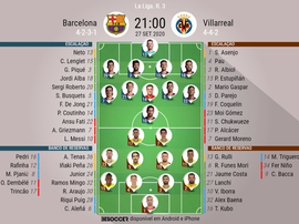 Escalações Barcelona e Villarreal - 27/09/2020. BeSoccer
